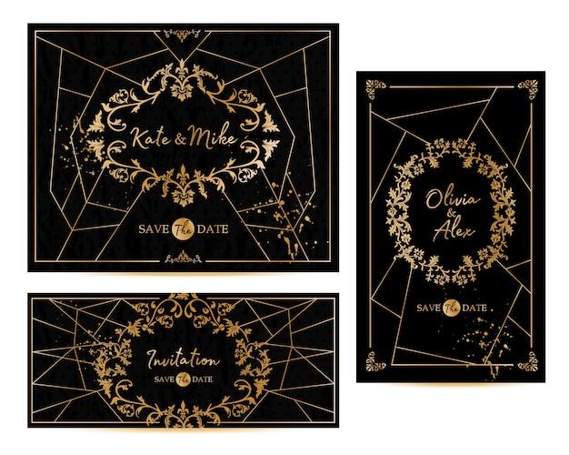 Der geometrische vintage-rahmen im art-deco-stil kann als einladung und glückwunsch verwendet werden Premium Vektoren