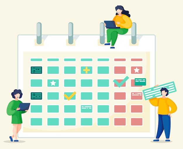 Der geschäftsmann arbeitet am konzept für laptops, zeitmanagement und prozessorganisation. Premium Vektoren