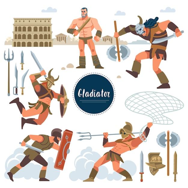 Der gladiator. stellen sie in historischen gladiator der alten rom-illustration, flache charaktere der krieger ein. krieger, schwert; rüstung; schild, arena, kolosseum. flacher stil. Premium Vektoren