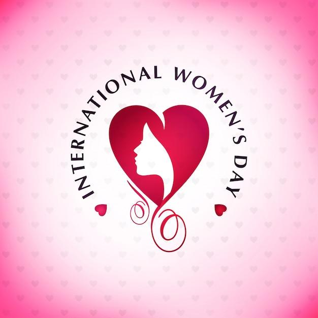 Der glückliche Tag der Frauen mit rosa Musterhintergrund und -typographie Kostenlose Vektoren