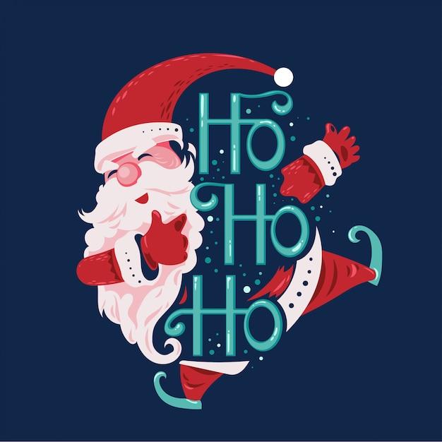 Der glückliche springende und lächelnde weihnachtsmann sagen ho ho ho mit beschriftungshintergrund Premium Vektoren