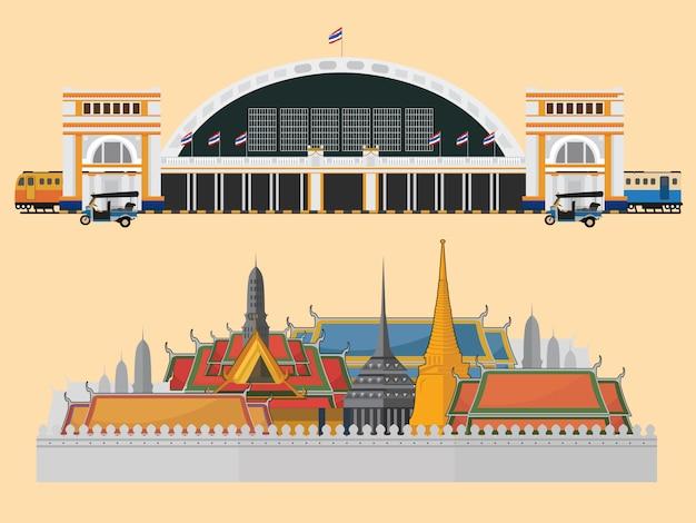Der großartige palast und der bahnhof in bangkok Premium Vektoren