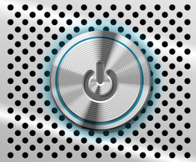 Der hervorgehobene power button auf perforiertem metallhintergrund Kostenlosen Vektoren