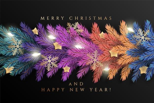 Der hintergrund des feiertags für grußkarte der frohen weihnachten mit realistischen bunten girlandenkieferniederlassungen, verziert mit weihnachtslichtern, goldsterne, schneeflocken Premium Vektoren