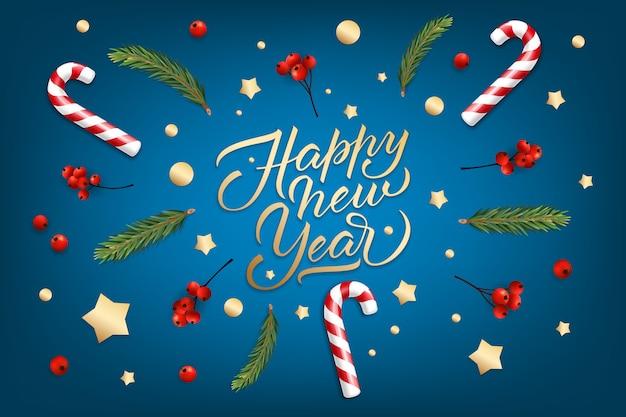 Der hintergrund des feiertags für grußkarte der frohen weihnachten und des guten rutsch ins neue jahr mit realistische weihnachtsbälle, zuckerstangen, rote beeren Premium Vektoren