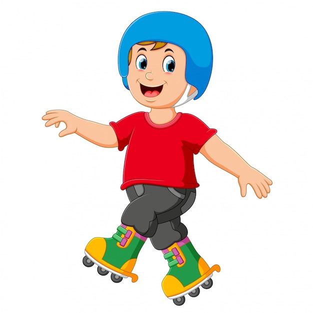 Der junge spielt rollschuhe und benutzt den helm Premium Vektoren