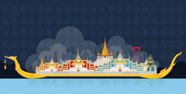 Der königliche lastkahn suphannahong und berühmte sehenswürdigkeiten Premium Vektoren