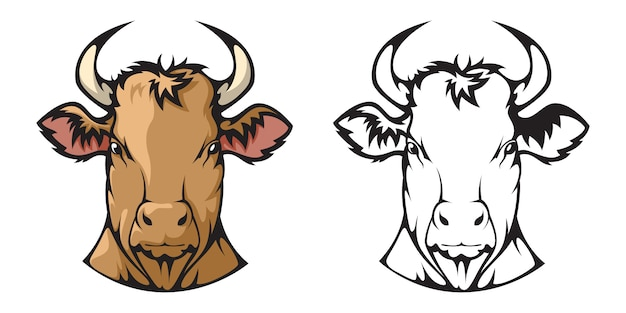 Der kopf einer kuh. Premium Vektoren