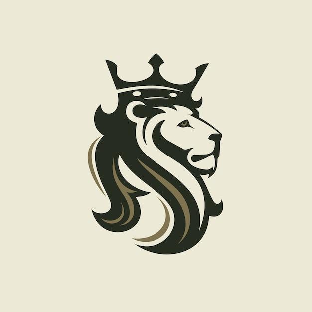 Der kopf eines löwen mit einer königskrone Premium Vektoren