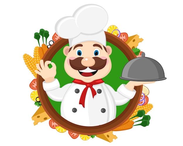 Der küchenchef hält ein tablett und zeigt die klasse, von außen sieht man frische lebensmittel auf weißem hintergrund. Premium Vektoren