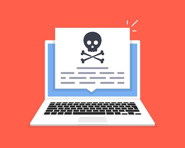 Der laptop wurde gehackt. schädelmeldung auf dem computerbildschirm. konzept von viren, piraterie, hacking und sicherheit Premium Vektoren