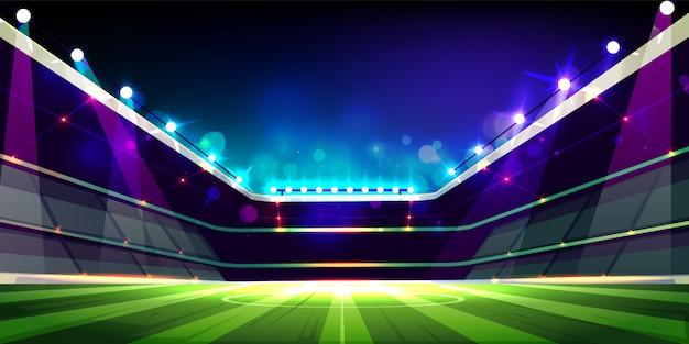 Der leere fußballplatz, der mit projektoren belichtet wird, beleuchtet karikatur Kostenlosen Vektoren