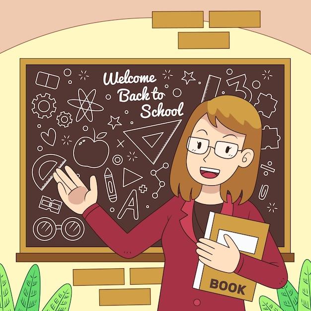Der lehrer heißt die schule willkommen Kostenlosen Vektoren