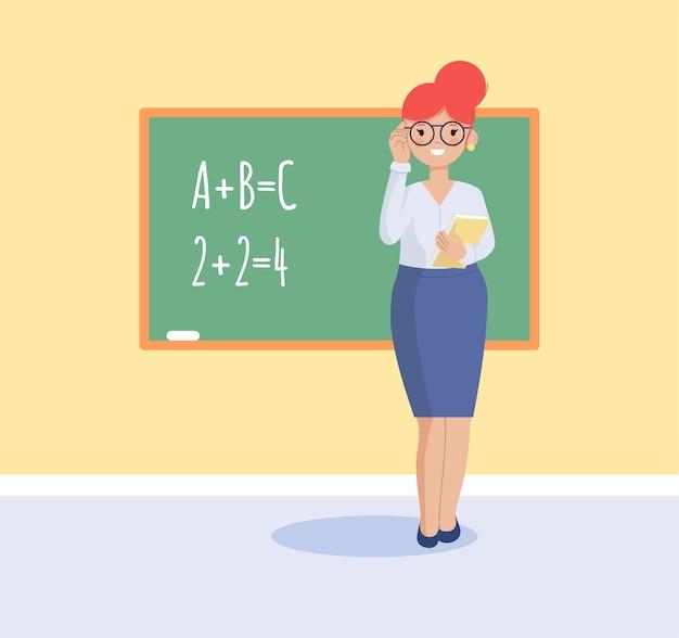 Der lehrer steht mit einem buch an der tafel. flache illustration. Premium Vektoren