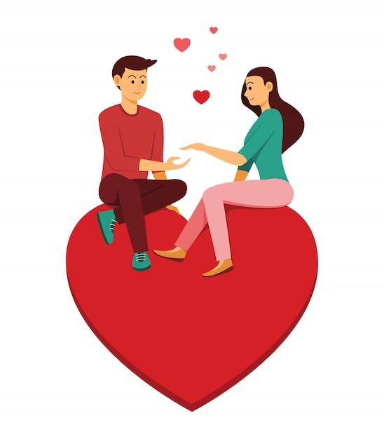 Der liebhaber mann und frau sitzen auf dem großen herzen ist symbol der liebe. Premium Vektoren