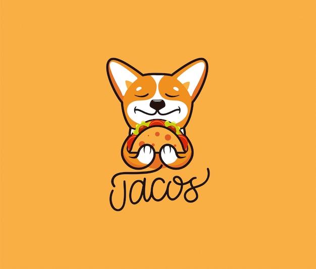 Der logo lustige corgi isst taco. netter hund, zeichentrickfigur, lebensmittellogo Premium Vektoren