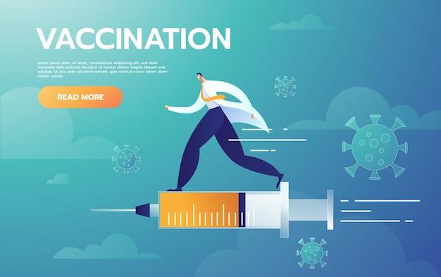 Der männliche arzt repräsentiert die injektionsbehandlung, die mit der impfstoffspritze fliegt Kostenlosen Vektoren