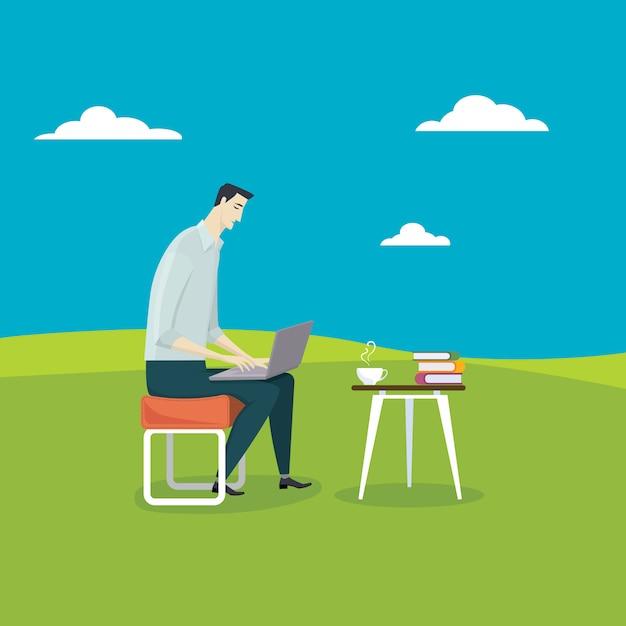 Der mann entspannt seinen computer Premium Vektoren