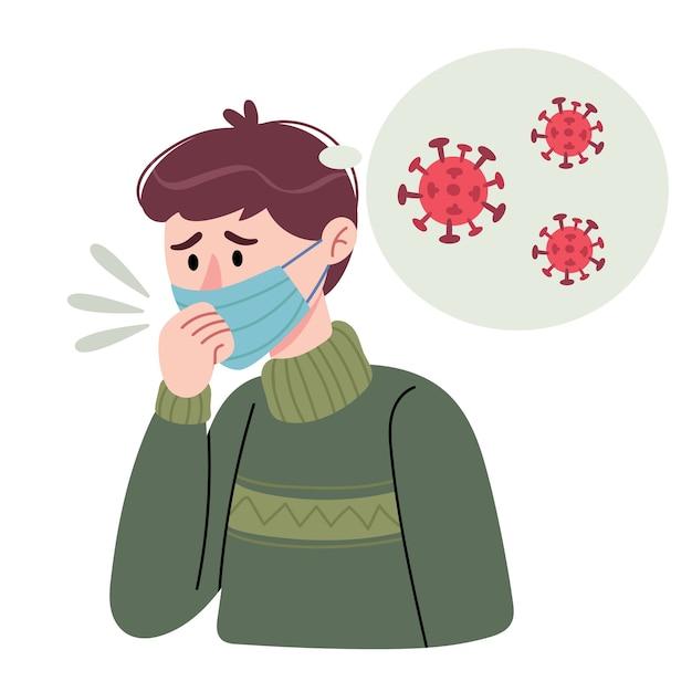 Der mann hustet. der mann in einer maske denkt, dass er ein coronavirus hat. konzept der stopp-ausbreitung des virus. Premium Vektoren