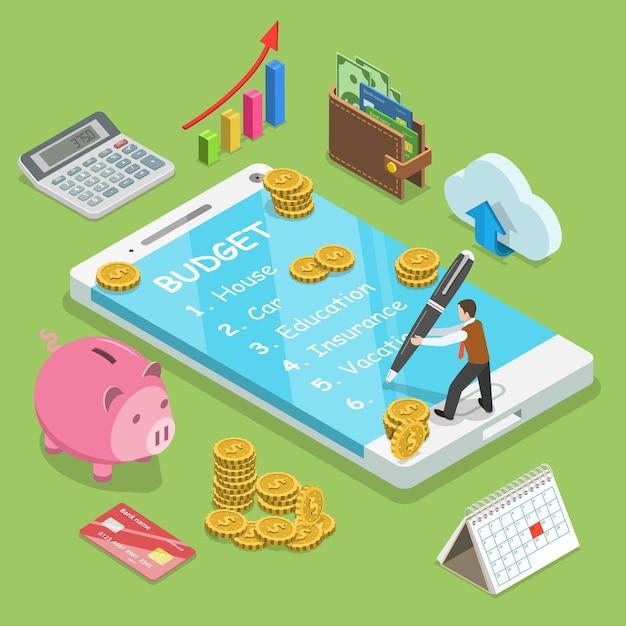 Der mensch plant das familienbudget und schreibt es in das smartphone. Premium Vektoren