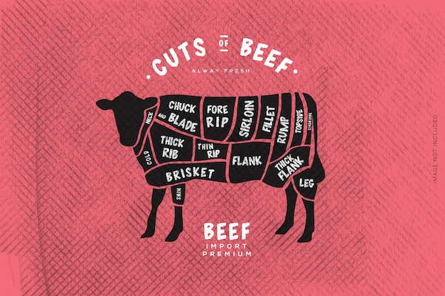 Der metzgerführer, cut of beef Premium Vektoren