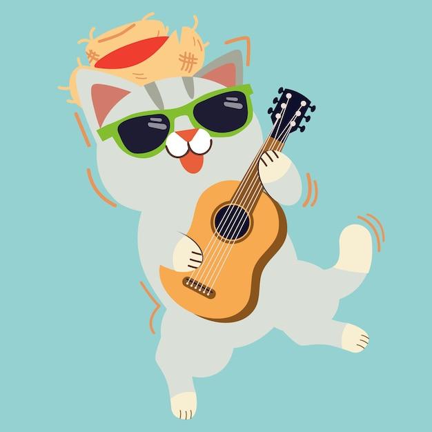 Der niedliche charakter der katze spielt eine gitarre Premium Vektoren
