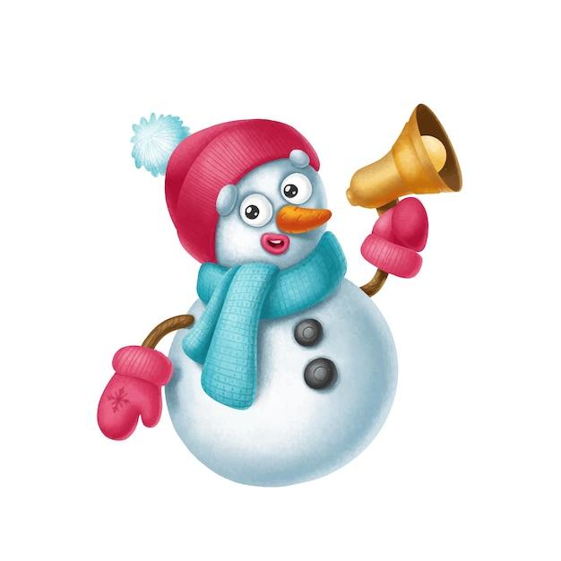 Der niedliche charakter des schneemanns lädt per megaphon zum feiertag merry cristmas ein Premium Vektoren
