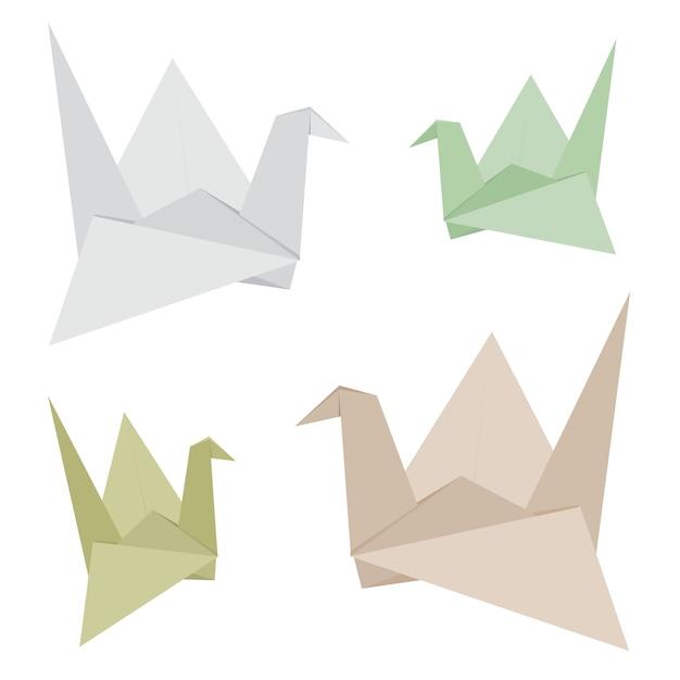 Der origami-vogel, der von gemacht wird, bereiten papiervektor auf Premium Vektoren