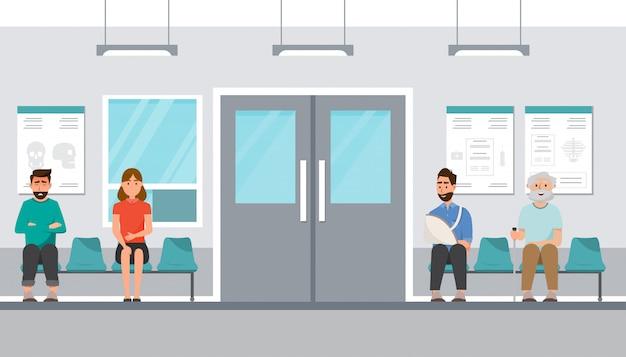 Der patient sitzt und wartet vor dem zimmer im krankenhaus Premium Vektoren