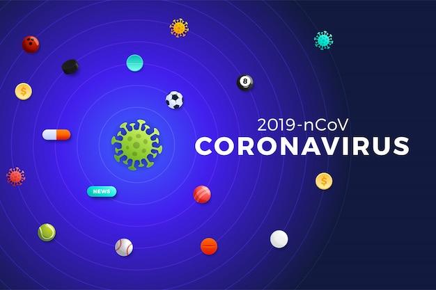 Der planet coronavirus, um den sportbälle, geld, medikamente, nachrichten und sportturniere im orbit fliegen. covid-19-virus globales epidemiekonzept iilustration banner Premium Vektoren