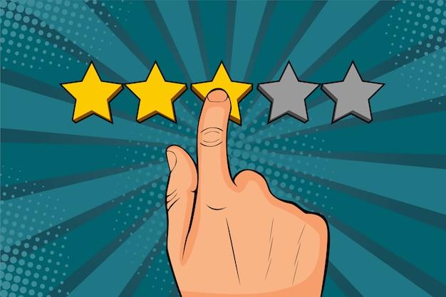 Der pop-art-mann zeigt mit dem finger auf den stern, setzt bewertungen und erinnert sich als goldene sterne Premium Vektoren