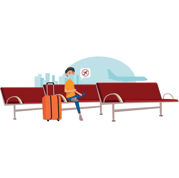 Der reisende erhielt eine benachrichtigung über den flugstorno im wartezimmer des flughafens Premium Vektoren
