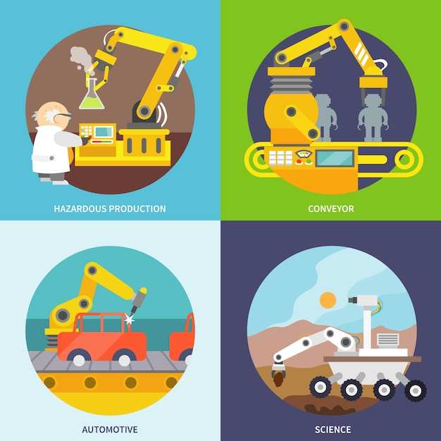 Der roboterarm entwirft kollektion Kostenlosen Vektoren