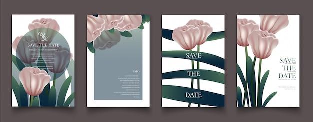 Der rosa blumenrahmen für einladungskarten. Premium Vektoren