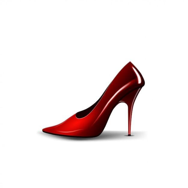 Der rote schuh der frauen lokalisiert auf weiß Premium Vektoren