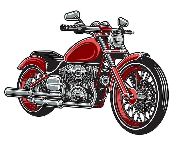 Der roten farbe motorrad lokalisiert auf weißem hintergrund. Kostenlosen Vektoren