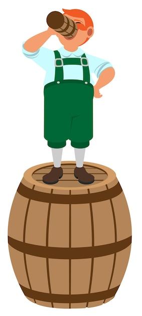 Der rothaarige deutsche kobold steht auf einem holzfass und trinkt bier. isoliert auf weißer karikaturillustration Premium Vektoren