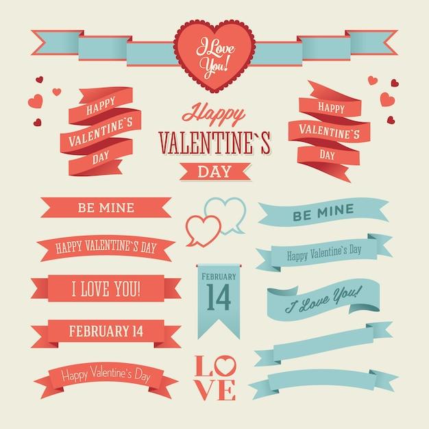 Der satz von blauen und roten valentinsgruß-tagesbändern Premium Vektoren