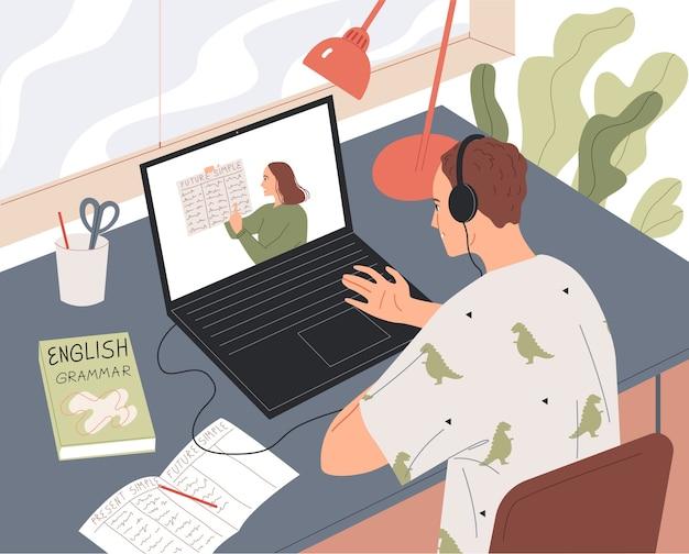 Der schüler lernt online und sieht sich die lektion auf dem laptop-bildschirm an. Premium Vektoren