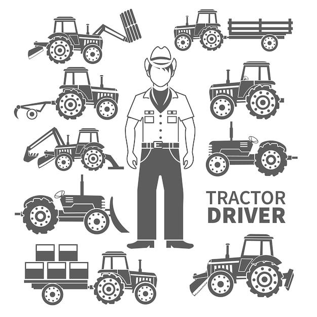 Der schwarze satz des traktorfahrers und der dekorativen ikonen der landwirtschaftlichen maschinen lokalisierte vektorillustration Kostenlosen Vektoren