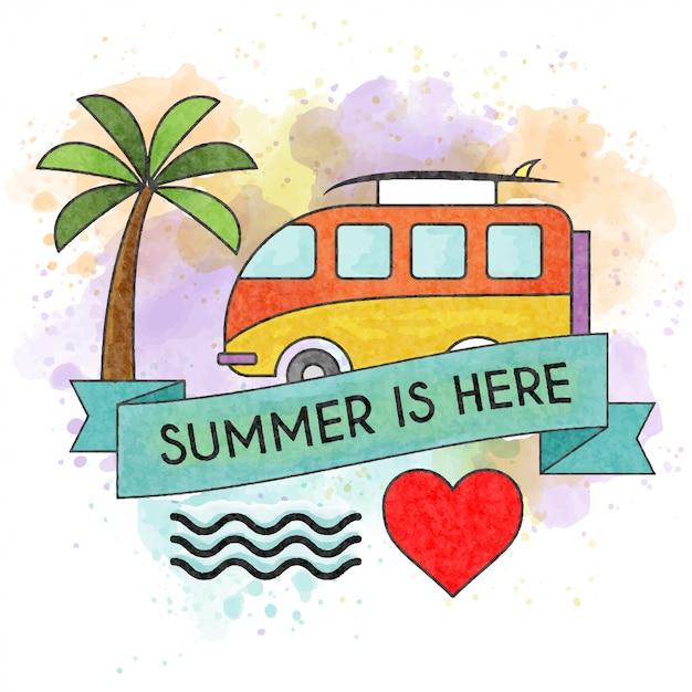 Der sommer ist da. aquarell-sommerplakat Premium Vektoren
