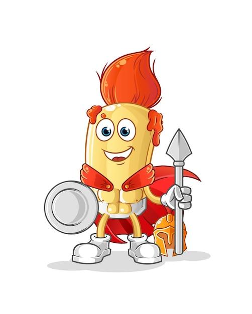 Der spartanische charakter des pinsels. cartoon maskottchen Premium Vektoren