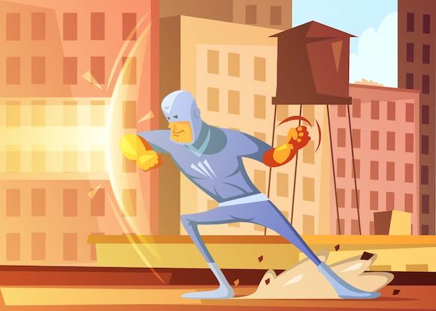 Der superheld, der die stadt vor schlechtem karikaturhintergrund mit wohnblöcken schützt, vector illustration Kostenlosen Vektoren