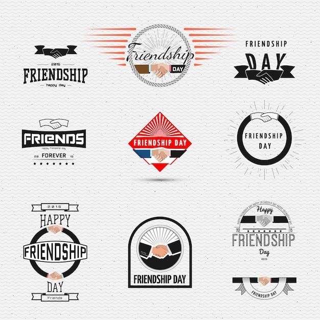Der tag der freundschaft kennzeichnet logos und etiketten Premium Vektoren