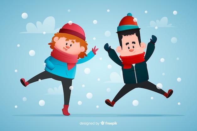 Der tragende winter der jungen leute kleidet springende hand gezeichnete illustration Kostenlosen Vektoren