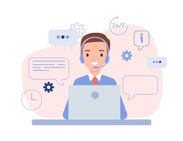 Der typ ist ein operator mit kopfhörern und einem laptop. technischer support für kunden rund um die uhr, telefon-hotline für unternehmen. vektorillustration im flachen stil. Premium Vektoren