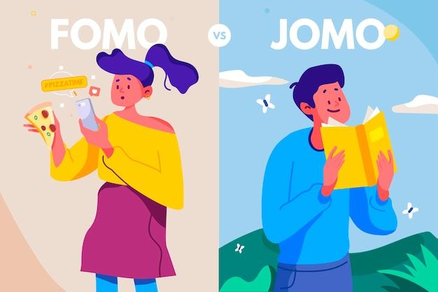 Der unterschied zwischen fomo und jomo Premium Vektoren