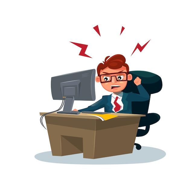 Der verärgerte geschäftsmann, der an computer arbeitet, sitzen am schreibtisch über weiß Premium Vektoren