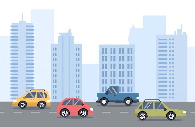 Der verkehr auf der straße. stadtverkehr. straße mit autos, skyline, bürogebäude in. flache darstellung. Premium Vektoren