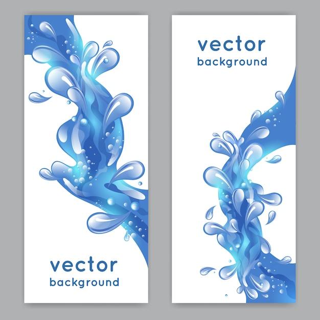 Der vertikale fahnensatz des blauen meerwasser-spritzens lokalisierte vektorillustration Kostenlosen Vektoren
